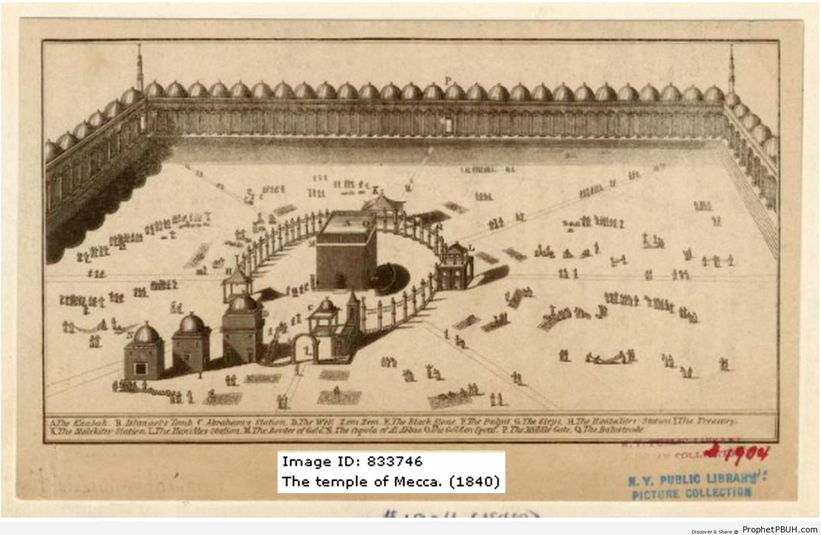 1840 Drawing of Masjid al-Haram - al-Masjid al-Haram in Makkah, Saudi Arabia -Picture