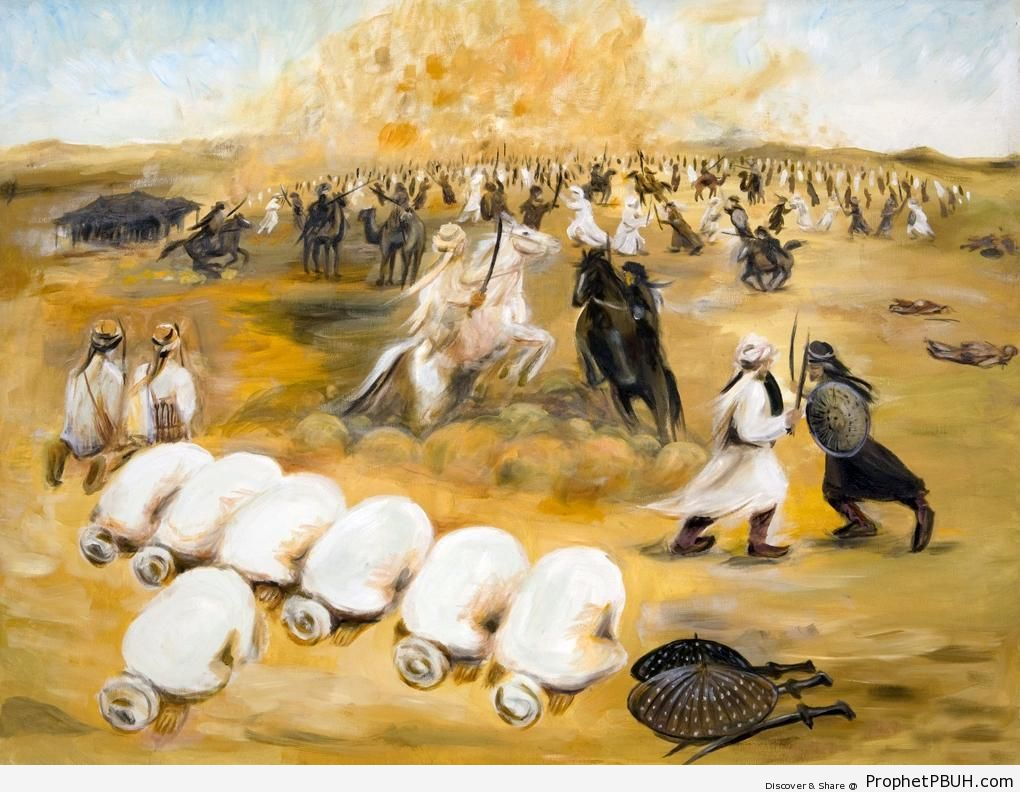 A Group of Believers Pray in Battle While Others Defend Them - Drawings