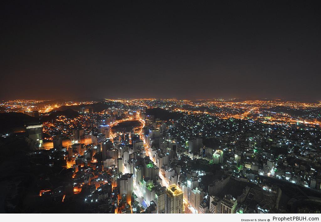 Aerial View of Makkah (Mecca) at Night - Makkah (Mecca), Saudi Arabia