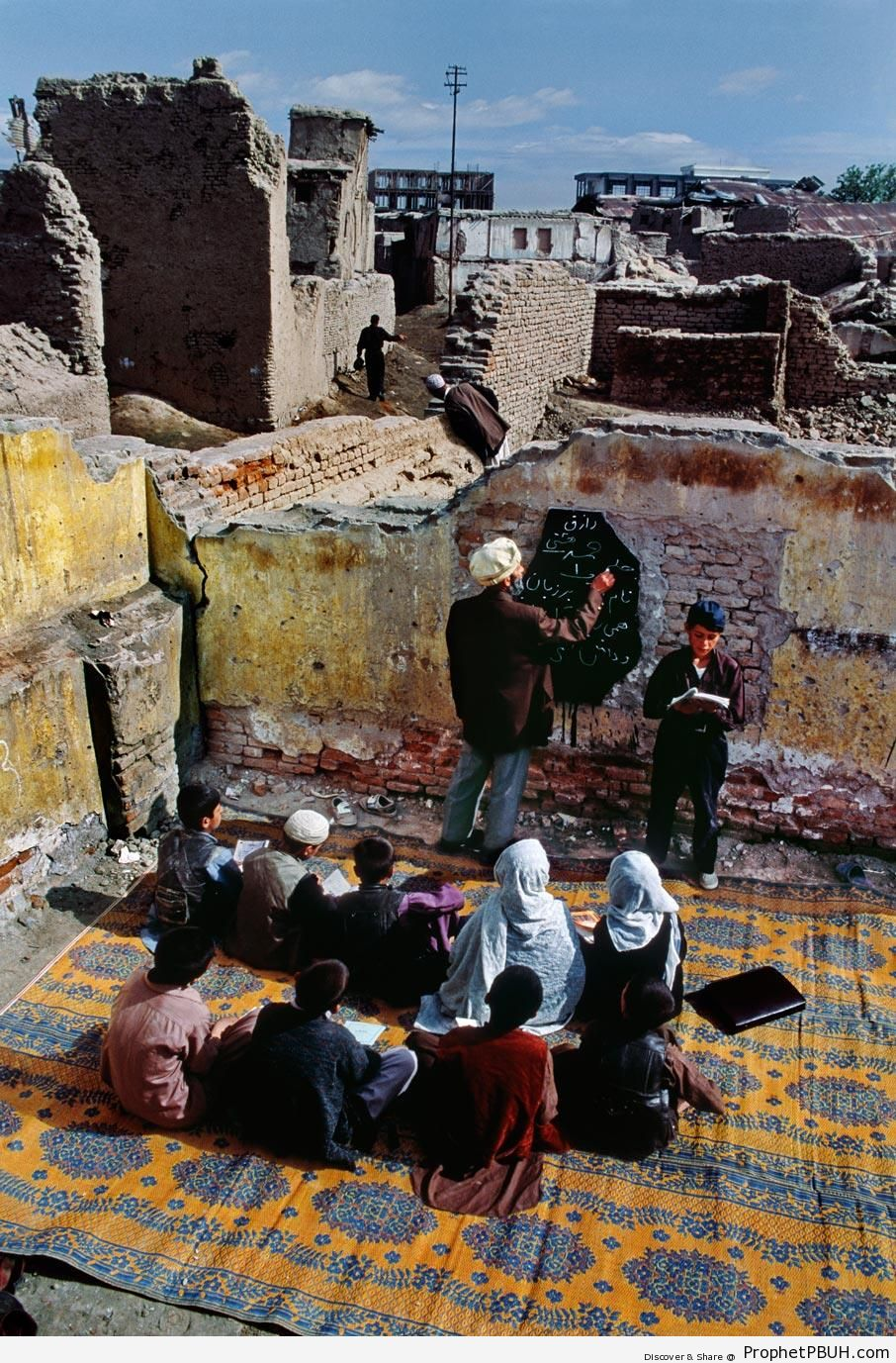 Afghan Children Attending Class in Ruins (Kabul, Afghanistan) - Muslimah Photos (Girls and Women & Hijab Photos) -