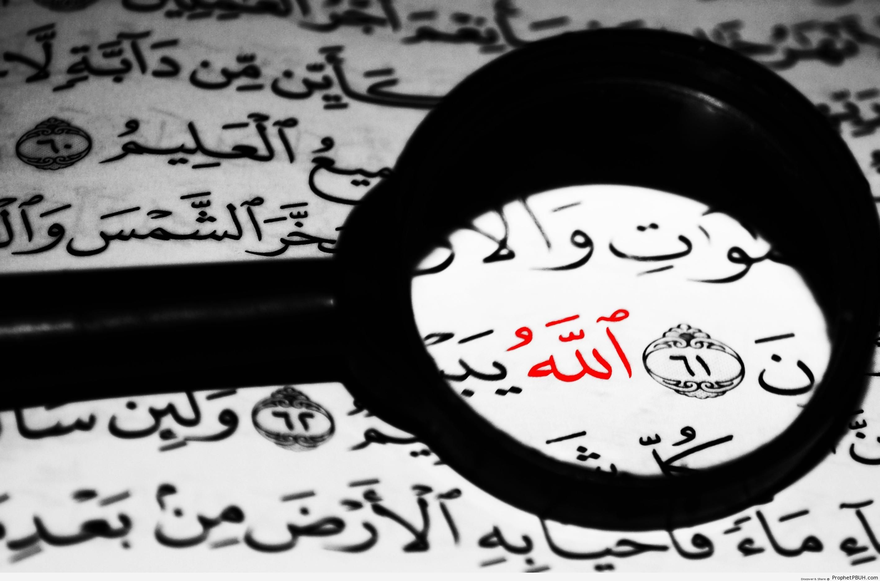 Allah Calligraphy in Red on Surat al-Ankabut Photo - Allah Calligraphy and Typography