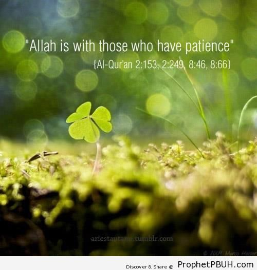 Allah is With Those Who Have Patience (Quran 2-153 et al.) - Islamic Quotes About Patience (Sabr)
