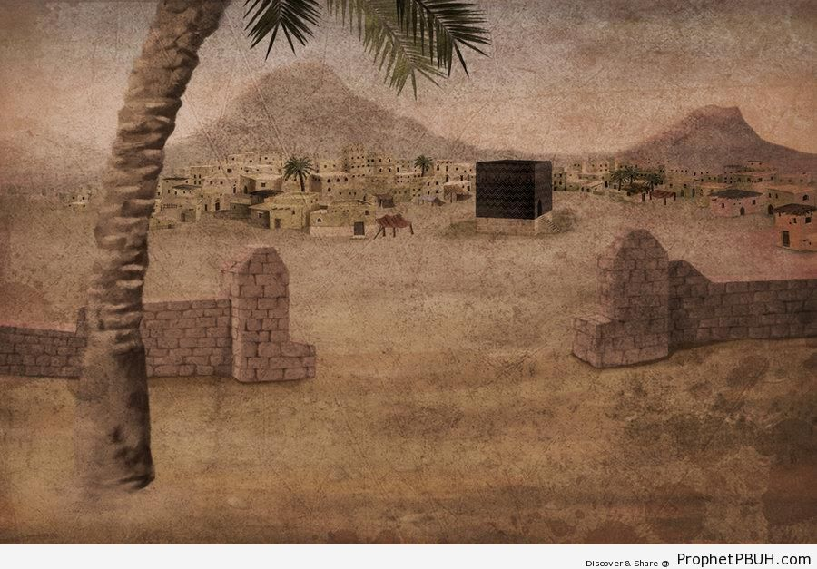 Ancient Makkah Painting - al-Masjid al-Haram in Makkah, Saudi Arabia -Picture