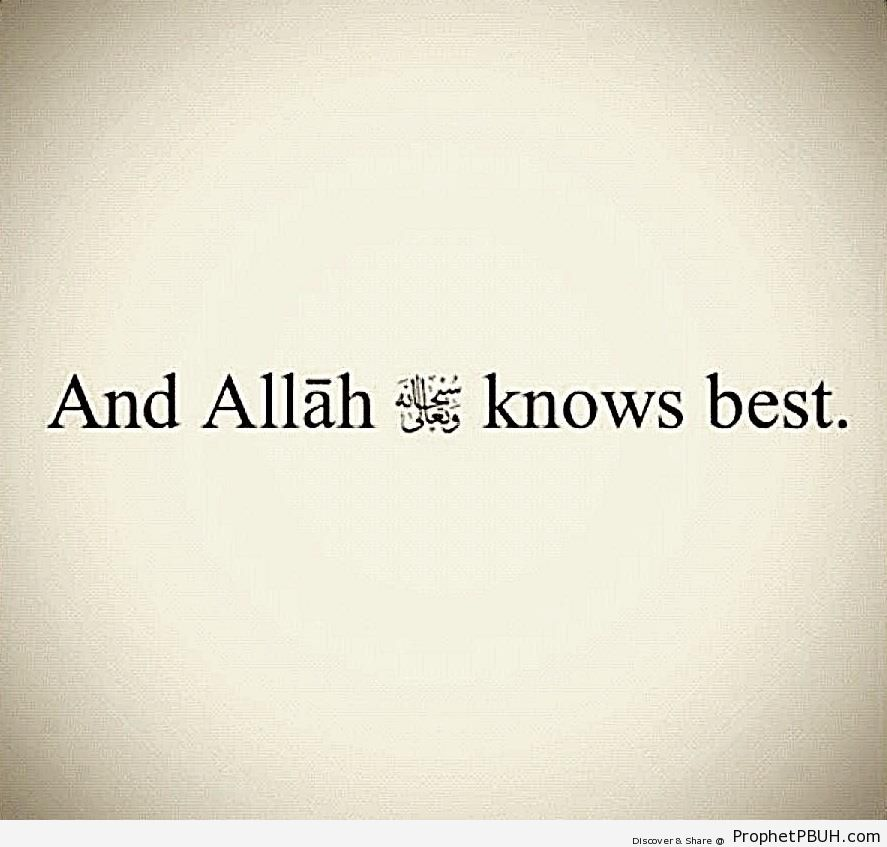 And Allah SWT Knows Best - Islamic Quotes