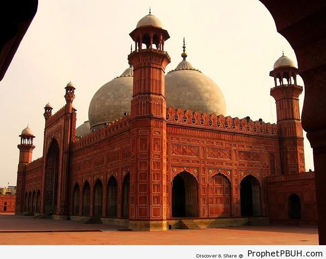 Angular View of Badshashi Mosque in Lahore, Pakistan from Under Arch - Badshahi Masjid in Lahore, Pakistan