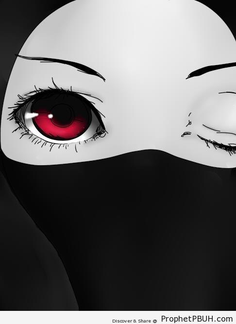 Anime Eyes Through Niqab - Drawings