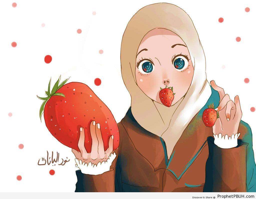 Anime Girl Eating Strawberries - Drawings