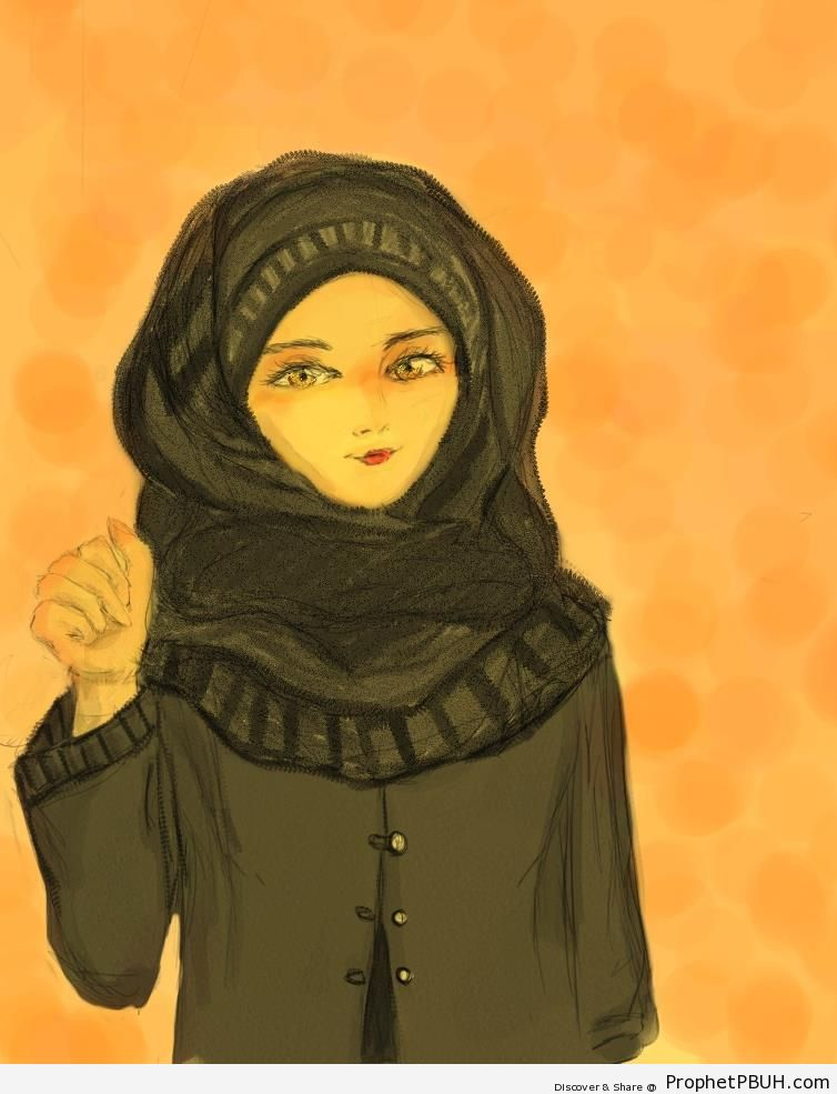 Anime Girl in Gulf Style Black Hijab and Abaya - Drawings