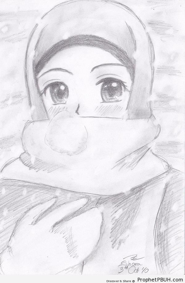 Anime Girl in Snow - Drawings