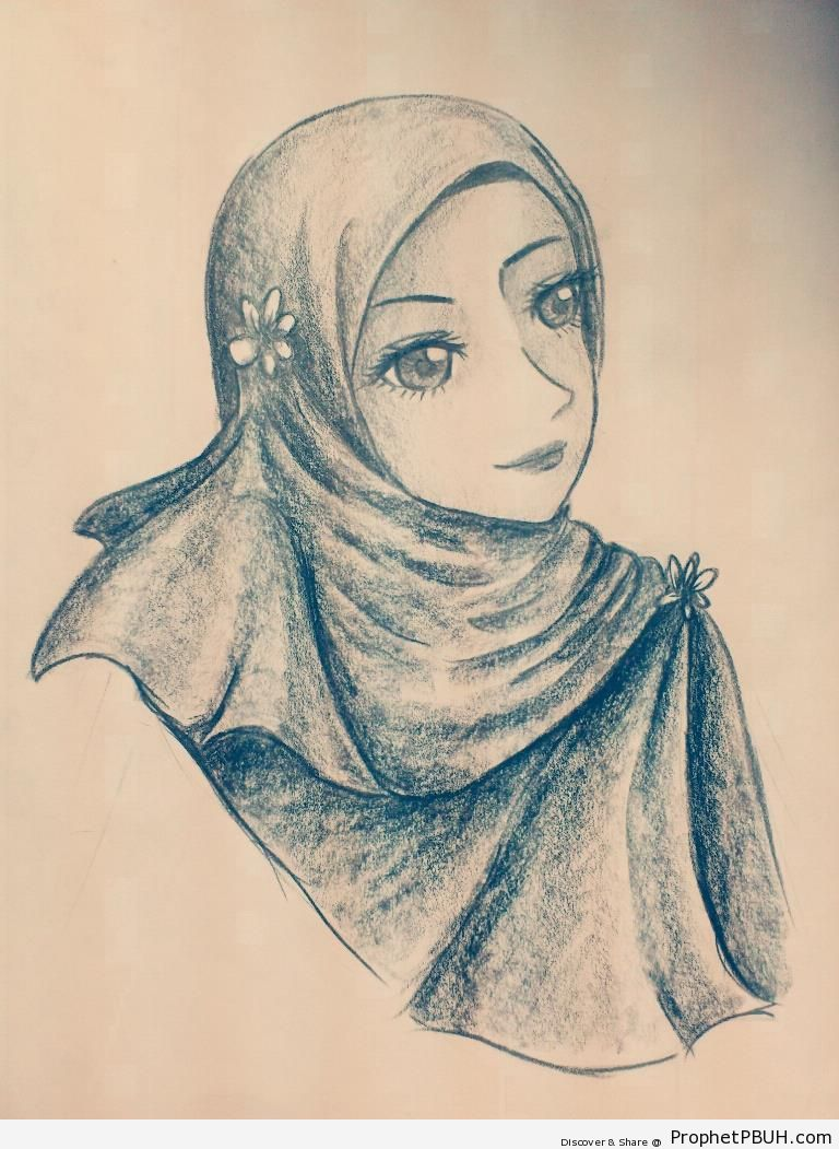 Anime hijabi pencil drawing drawings