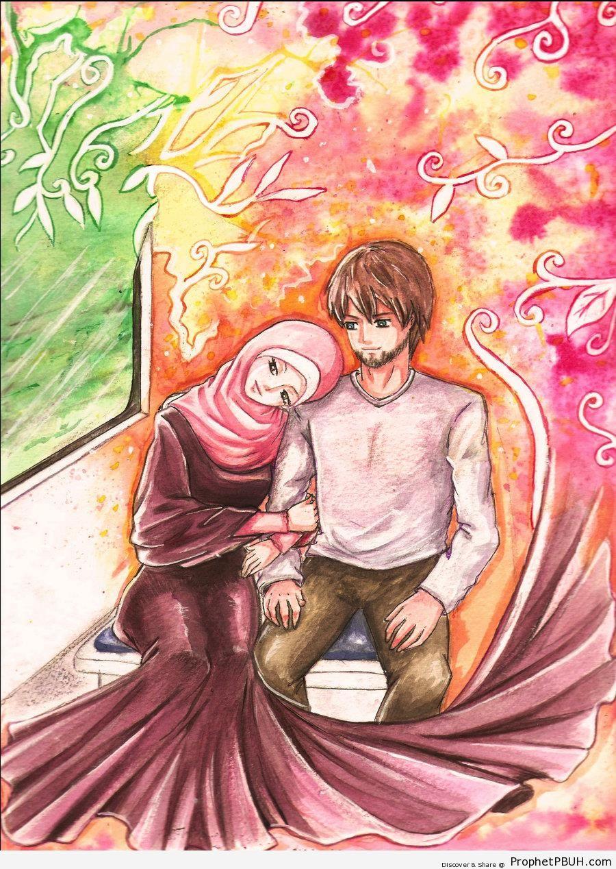 Anime Loving Muslim Couple On Train
