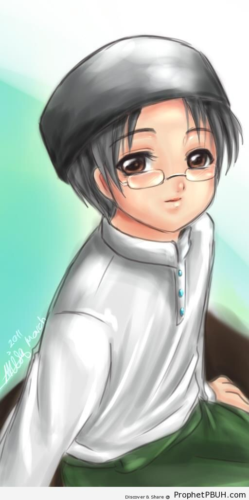 Anime Muslim Boy Wearing Glasses - Drawings
