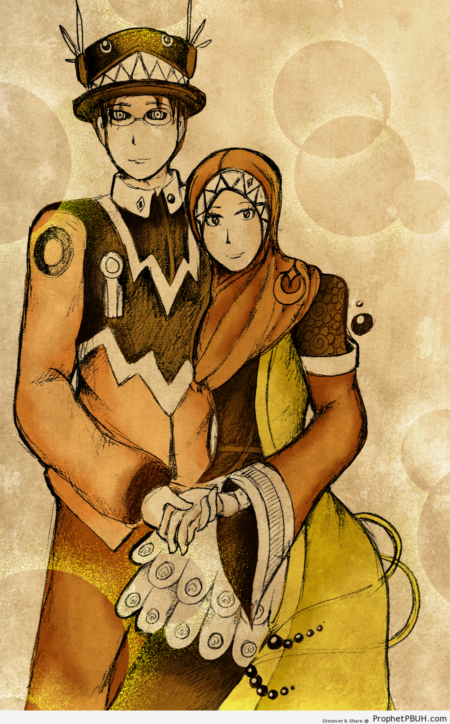 Anime muslim couple drawings