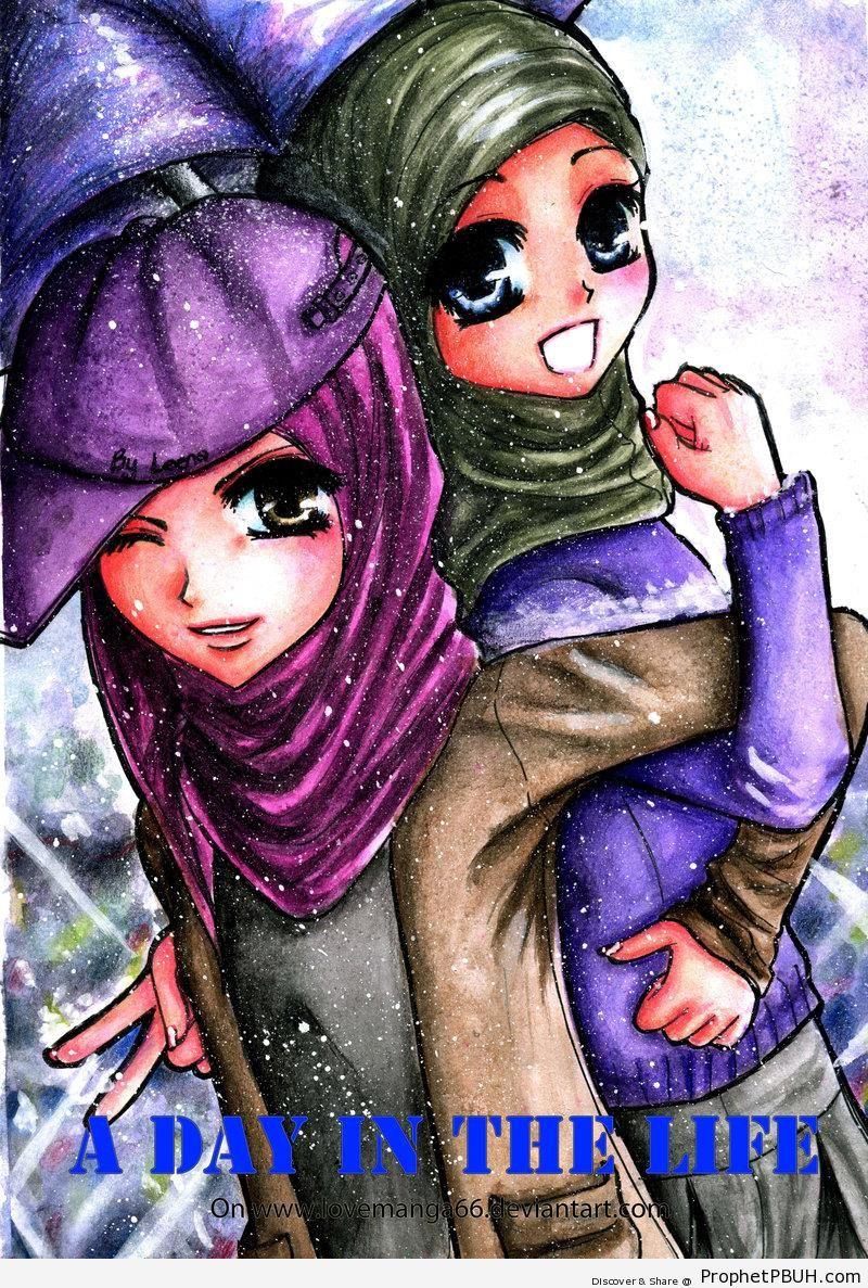 Anime Muslim Girls - Drawings