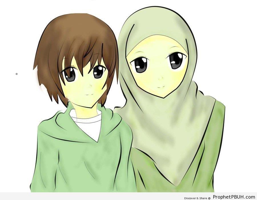 Anime Muslim Twin Siblings