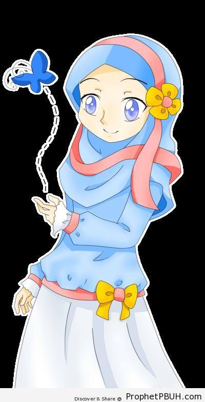 Anime Muslim Woman In Decorated Islamic Costume