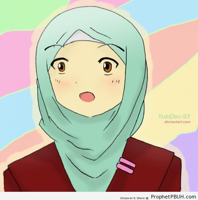 Anime Muslimah in Faded Blue Hijab - Drawings