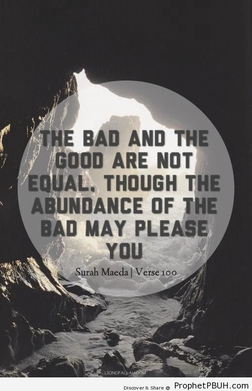 Bad and Good Are Not Equal - Quranic Verses