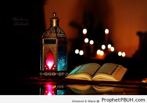 Beautiful Photo of Lantern and Open Mushaf - Islamic Quotes About the Month of Ramadan