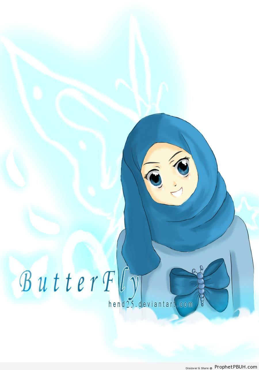Blue Eyed Anime Muslim Woman In Hijab