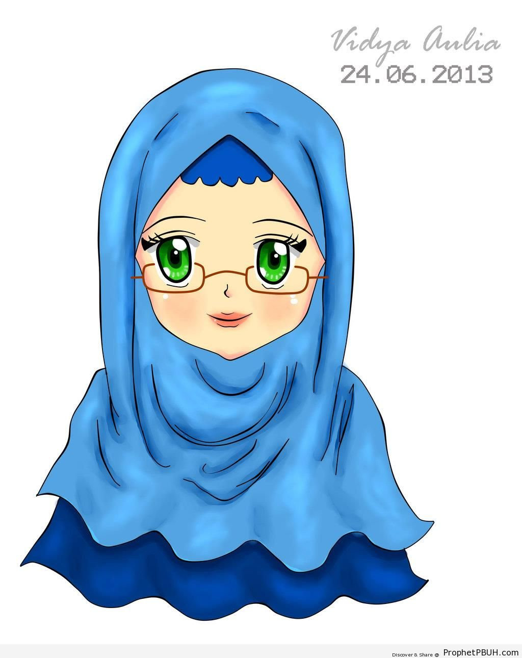 Blue Hijab and Glasses (Anime Drawing) - Drawings