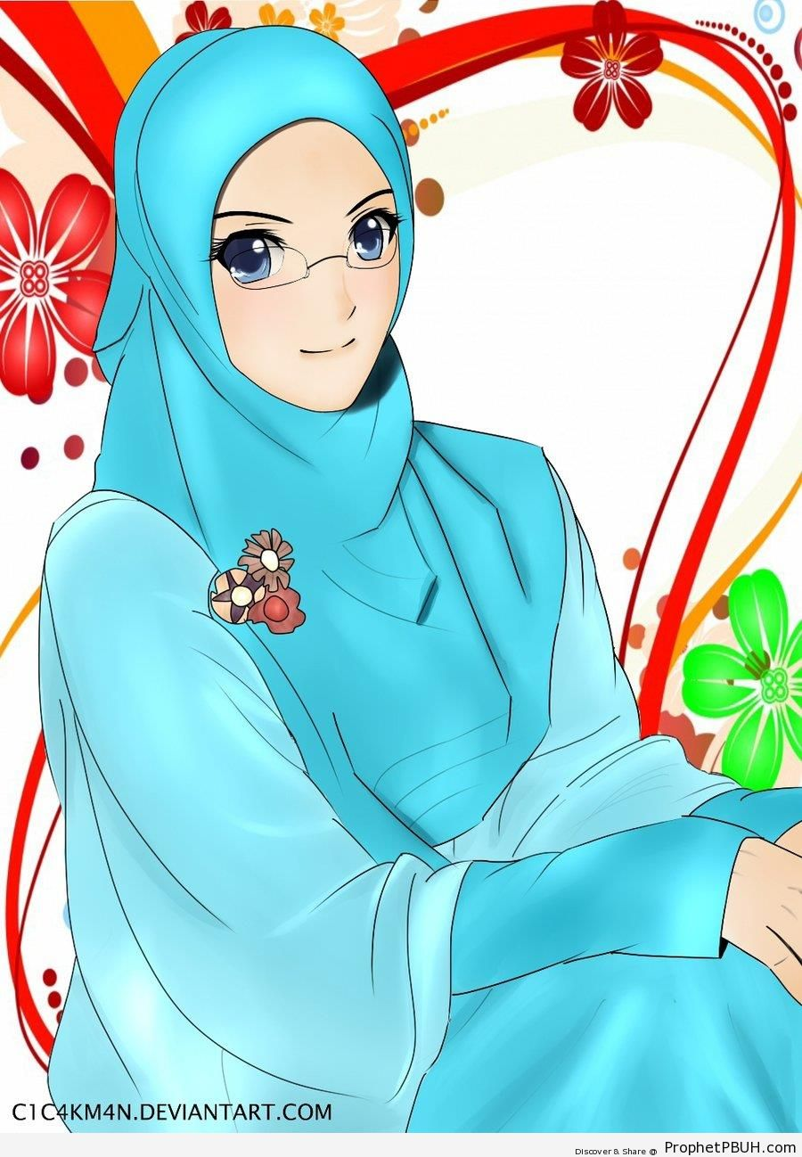 Blue Hijab and Glasses - Drawings