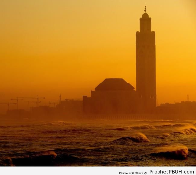 Casablanca Mosque & Sea Waves at Sunrise - Casablanca, Morocco
