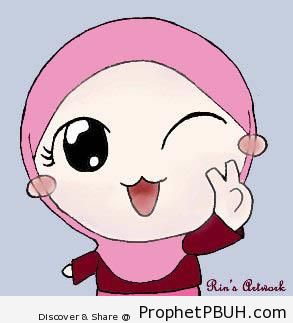 Cat-Mouthed Hijabi Manga Girl - Chibi Drawings (Cute Muslim Characters)