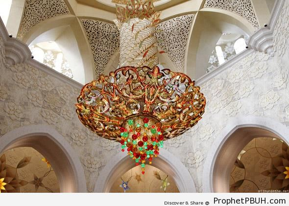 Chandelier Under the Main Dome of Sheikh Zayed Grand Mosque - Abu Dhabi, United Arab Emirates