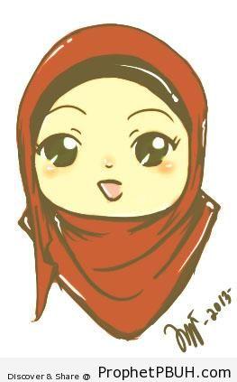 Chibi Hijabi in Maroon Hijab - Chibi Drawings (Cute Muslim Characters)