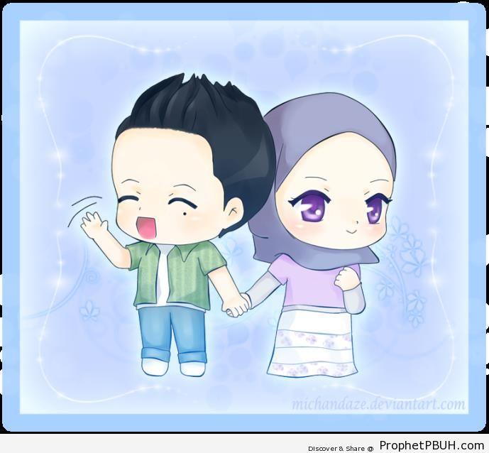 Chibi Muslim Couple - Chibi Boy Drawings