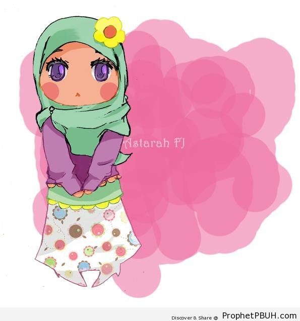 Chibi Muslim Girl in Hijab - Chibi Drawings (Cute Muslim Characters)