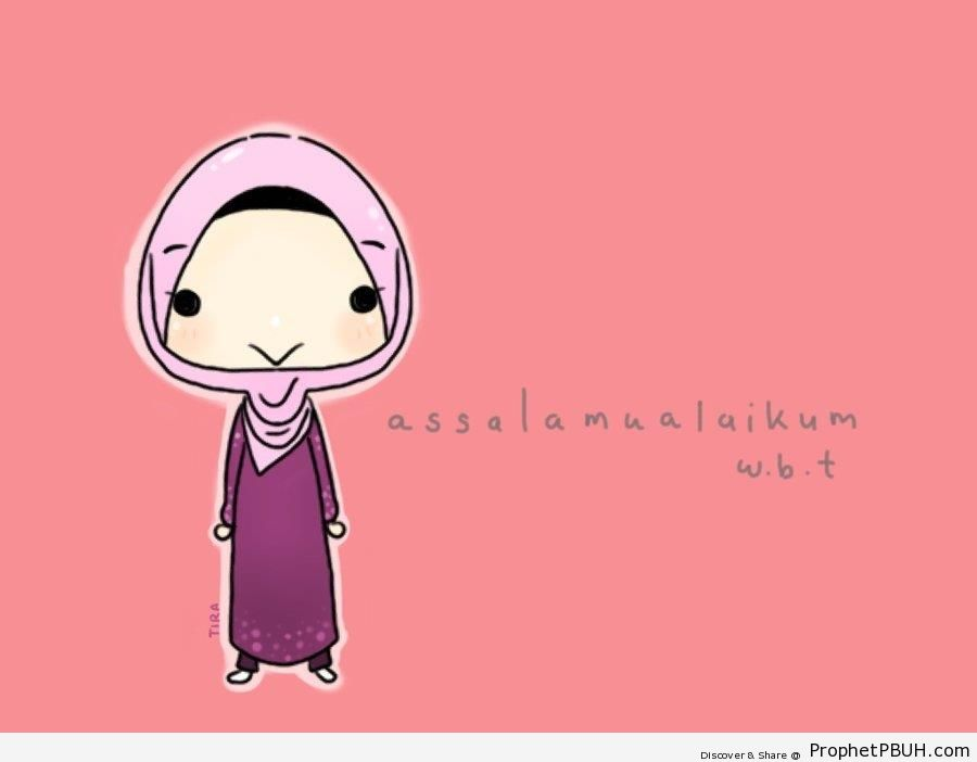 Chibi Muslim Woman Saying Salams - Chibi Drawings (Cute Muslim Characters)