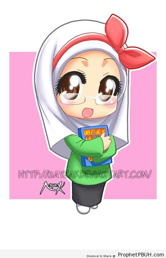 Chibi Nerd Girl With Glasses And Book