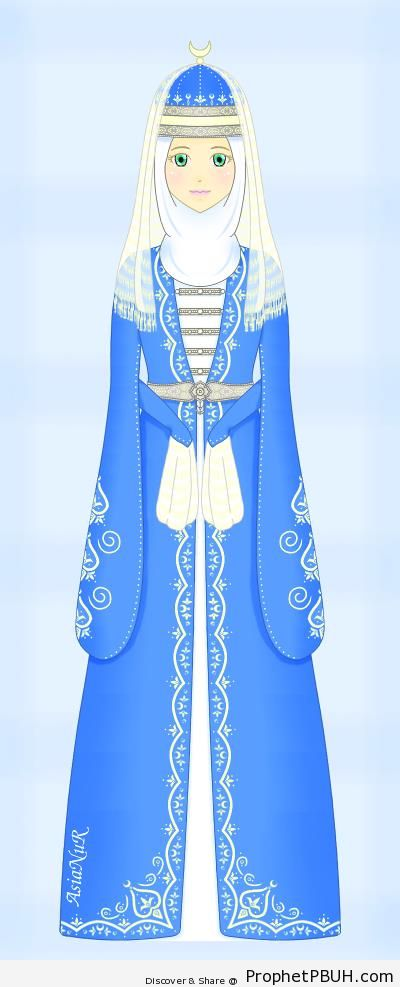 Circassian Muslimah Wearing Traditional Dress (Drawing) - Drawings