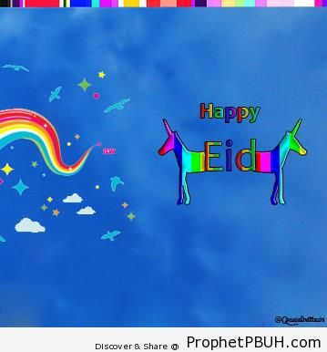 Colorful Happy Eid with Rainbows and Unicorns - Eid Mubarak Greeting Cards, Graphics, and Wallpapers