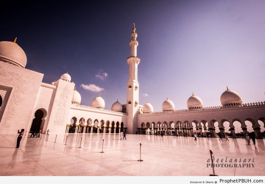 Courtyard of Sheikh Zayed Grand Mosque (Abu Dhabi, UAE) - Abu Dhabi, United Arab Emirates -Picture