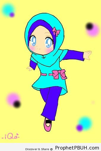 Cute Anime Blue-Eyed Muslim Little Girl - Drawings