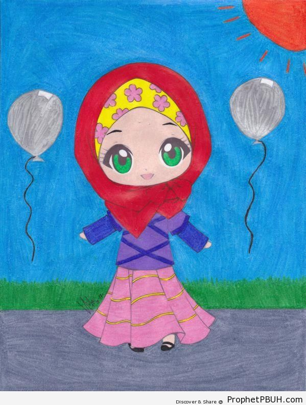 Cute Hijabi - Chibi Drawings (Cute Muslim Characters)