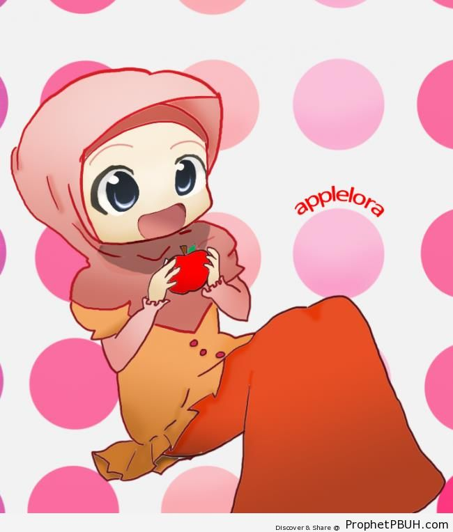 Cute Hijabi Girl Holding Apple (Manga Drawing) - Drawings