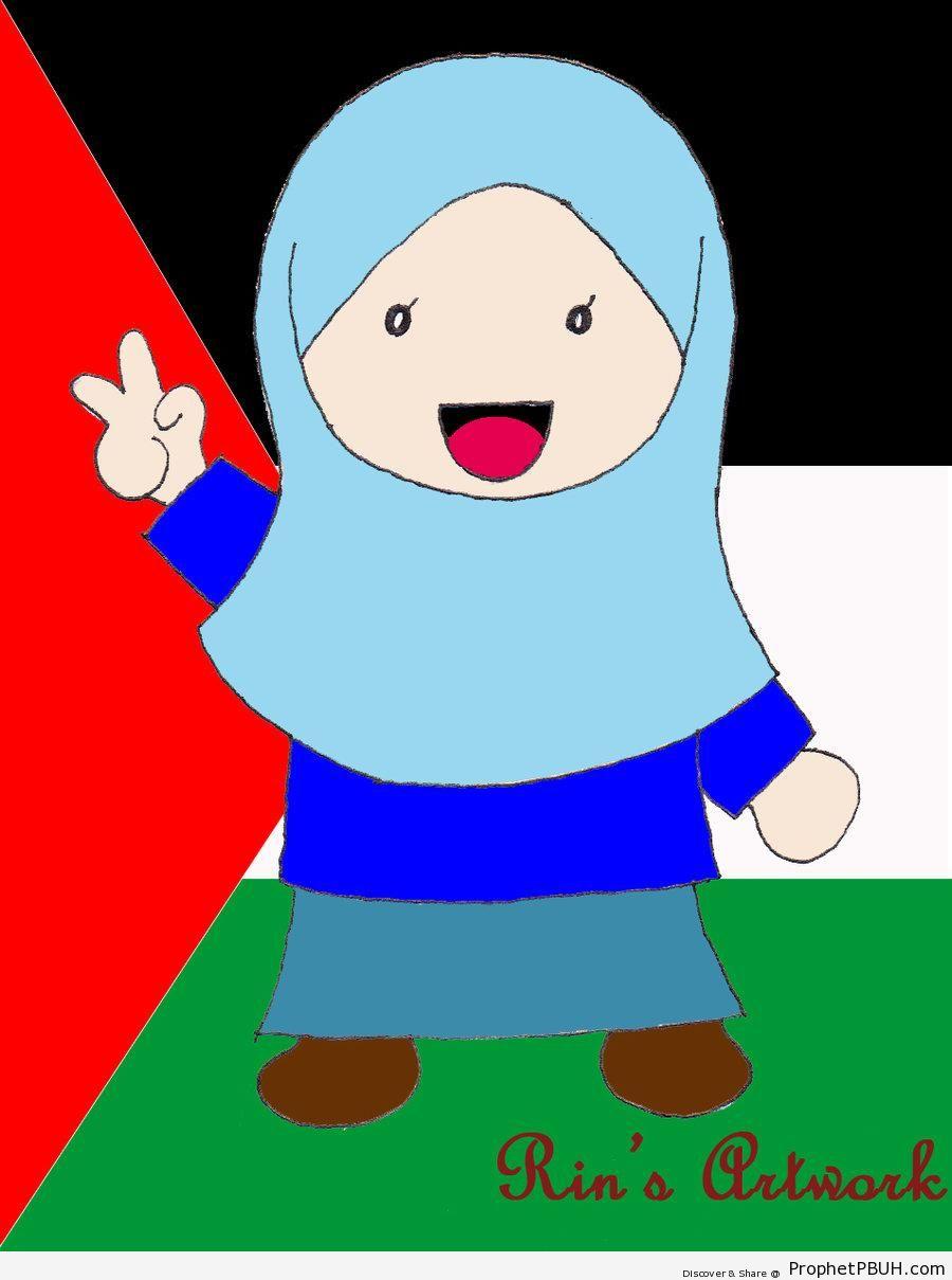 Cute Muslimah Drawing on Palestine Flag - Drawings