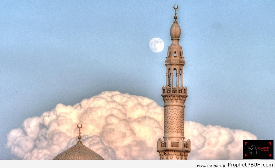 Daytime Full Moon Behind Minaret - Islamic Architecture