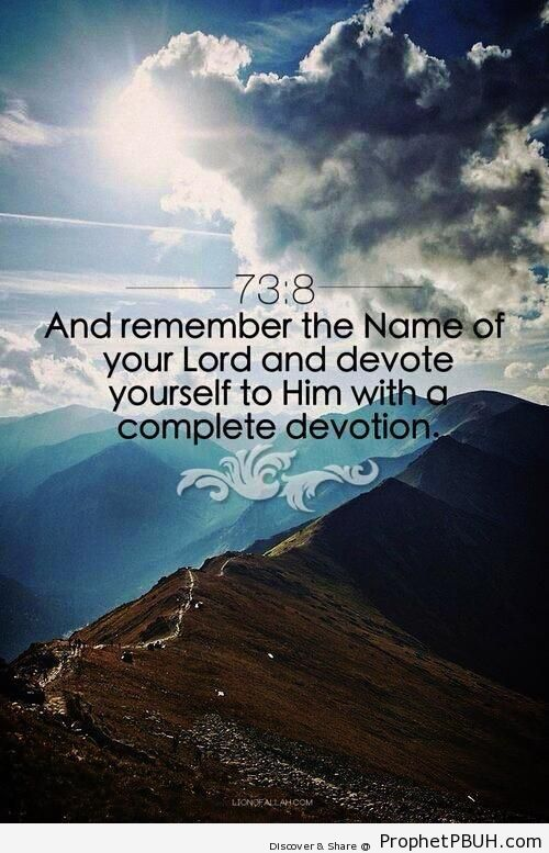Devote Yourself to Him (Surat al-Muzzammil 73-8) - Islamic Quotes