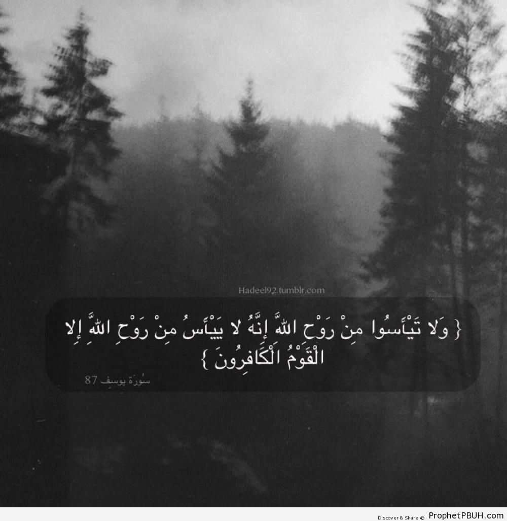 Do Not Lose Hope (Prophet Ya`qub Quote From Quran 12-87 - Surat Yusuf) - Islamic Black and White Photos
