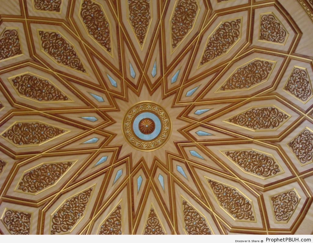 Dome Interior Arabesque at the Mosque of the Prophet ï·º in Madinah - Al-Masjid an-Nabawi (The Prophets Mosque) in Madinah, Saudi Arabia -Picture