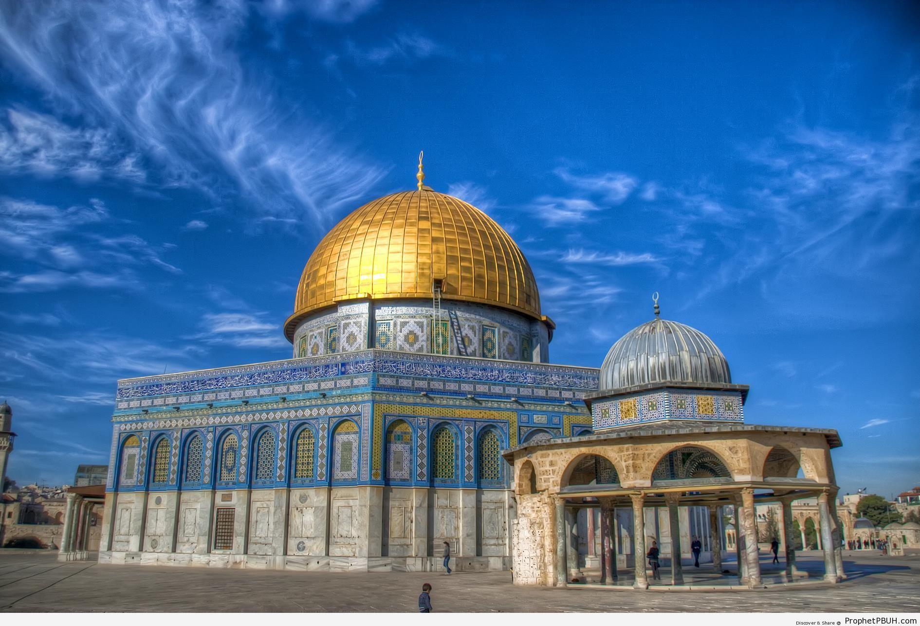 Dome of the Rock Mosque on Deep Blue Sky - Al-Quds (Jerusalem), Palestine -Picture