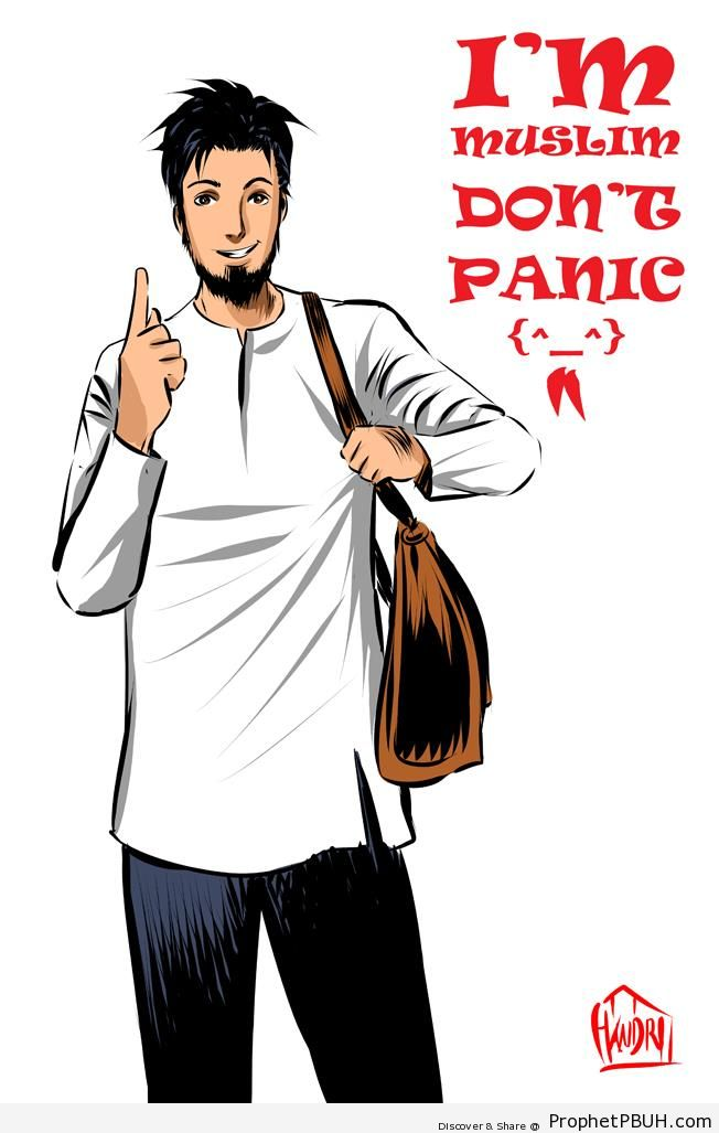 Don-t Panic (Poster With Anime Muslim Man Drawing) - -Don't Panic I'm Muslim- Posters