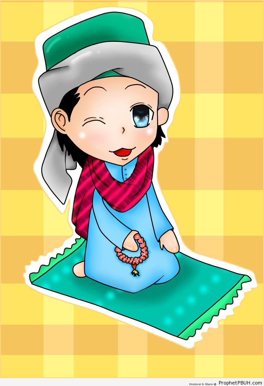 Drawing of Muslim Boy Doing Dhikr - Drawings