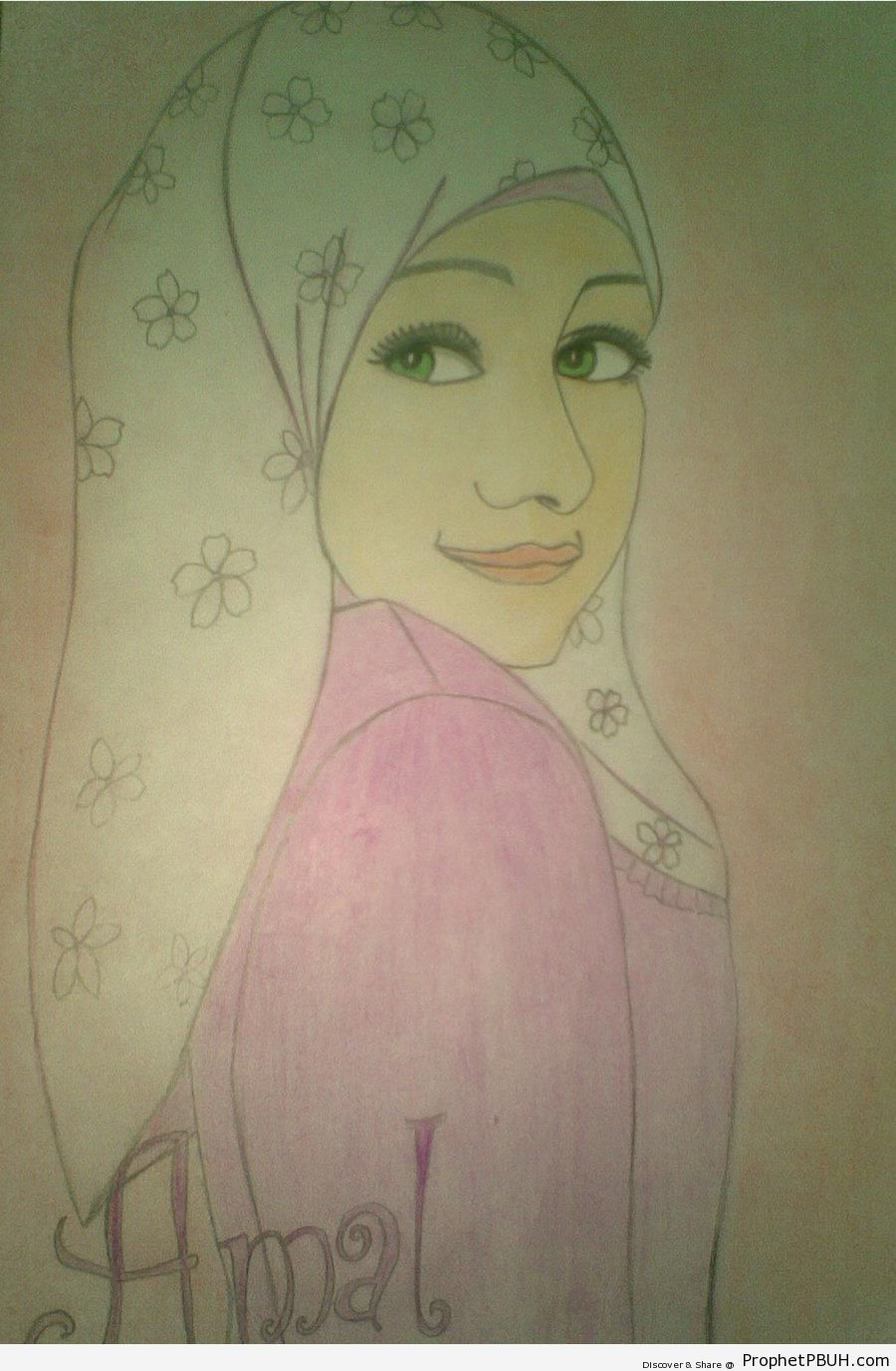 Drawing of Muslimah in Simple Flowery Hijab - Drawings