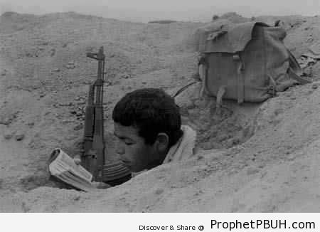 Egyptian Soldier Reading Quran During October 6, 1973 War - Historic Photos